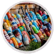 Rockport Flower Garden Round Beach Towel