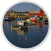 Rockport Harbor No.3 Round Beach Towel