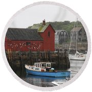 Rockport Inner Harbor With Lobster Fleet And Motif No.1 Round Beach Towel