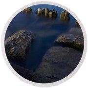 Rocks And Posts Round Beach Towel