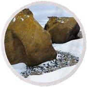 Rocks At Brown Bluff, Antarctica Round Beach Towel