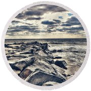 Rocks At Cape May Round Beach Towel