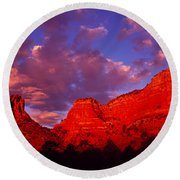 Rocks At Sunset Sedona Az Usa Round Beach Towel