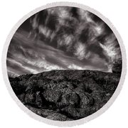 Rocks Clouds Water Round Beach Towel
