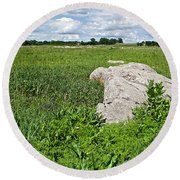 Rocks In A Tall Grass Prairie In Pipestone National Monument-minnesota Round Beach Towel