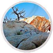 Rocks In Sun And Shade Along Barker Dam Trail In Joshua Tree Np-ca- Round Beach Towel