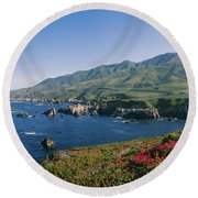 Rocks In The Sea, Carmel, California Round Beach Towel