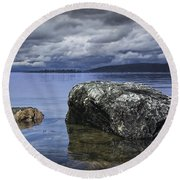 Rocks In The Water On A Lake In Acadia National Park Round Beach Towel
