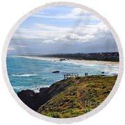 Rocks Ocean Surf And Sun Round Beach Towel