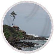 Rocks Of Kovalam Beach Kerala Round Beach Towel