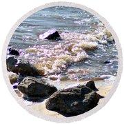Rocks On The Bay Round Beach Towel