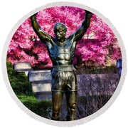 Rocky Among The Cherry Blossoms Round Beach Towel