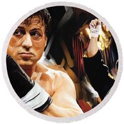 Rocky Artwork 2 Round Beach Towel