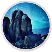 Rocky Cliff In Starlight Round Beach Towel