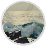 Rocky Coast And Sea Round Beach Towel