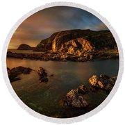 Rocky Coastline At Sunset, Point Round Beach Towel