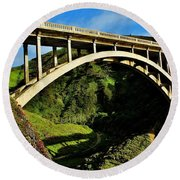 Rocky Creek Bridge Round Beach Towel