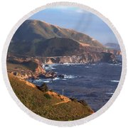 Rocky Creek Bridge In Big Sur Round Beach Towel by Charlene Mitchell