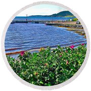 Rocky Harbour Roses-nl Round Beach Towel