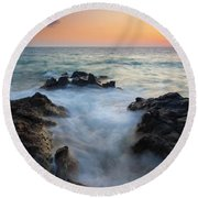 Rocky Inlet Sunset Round Beach Towel by Mike  Dawson