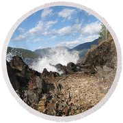 Rocky Ledges Round Beach Towel