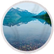 Rocky Mountain And Rocky Bottom Reflection In Lake Mcdonald In Glacier National Park-montana Round Beach Towel