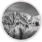 Rocky Mountain Autumn High In Black And White Round Beach Towel