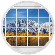 Rocky Mountain Autumn High White Picture Window Round Beach Towel