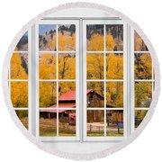 Rocky Mountain Autumn Ranch White Window View Round Beach Towel