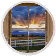 Rocky Mountain Country Beams Of Sunlight Rustic Window Frame Round Beach Towel
