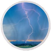 Rocky Mountain Foothills Lightning Strikes 2 Hdr Round Beach Towel