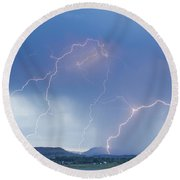 Rocky Mountain Front Range Foothills Lightning Strikes Round Beach Towel