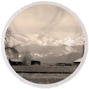 Rocky Mountain Lafayette Sepia Views Round Beach Towel