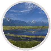 Rocky Mountain Lake Round Beach Towel