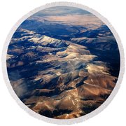 Rocky Mountain Peaks From Above Round Beach Towel