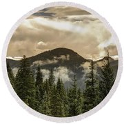 Rocky Mountain Red Round Beach Towel