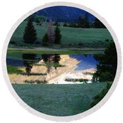 Rocky Mountain Reflection Round Beach Towel