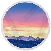 Rocky Mountain Sunset Clouds Burning Layers  Panorama Round Beach Towel