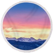 Rocky Mountain Sunset Clouds Burning Layers  Panorama Round Beach Towel