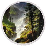 Rocky Mountain Waterfall Round Beach Towel