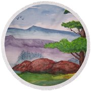 Rocky Mountains Round Beach Towel