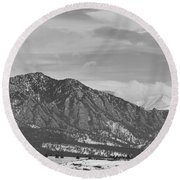 Rocky Mountains Flatirons And Longs Peak Panorama  2 Round Beach Towel