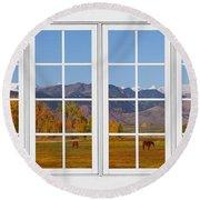 Rocky Mountains Horses White Window Frame View Round Beach Towel