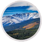 Rocky Mountains Independence Pass Round Beach Towel