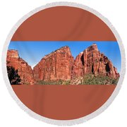 Rocky Mountains Of Zion Round Beach Towel