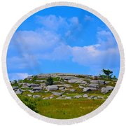 Rocky New England Hill Round Beach Towel