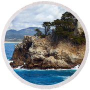 Rocky Outcropping At Point Lobos Round Beach Towel