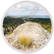 Rocky Outcrops Of Trotters Gorge Otago Nz Round Beach Towel