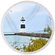 Rocky River Pier Round Beach Towel