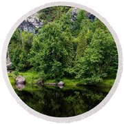 Rocky River Reflection Round Beach Towel